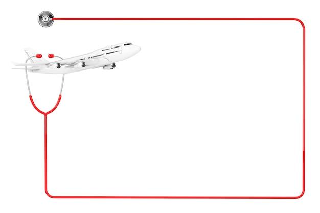 Aereo passeggeri jet bianco con stetoscopio medico in rosso come cornice con spazio vuoto per il tuo design su sfondo bianco. rendering 3d