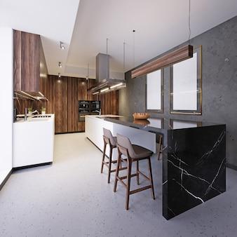 Mobili da cucina bianchi con isola cucina e bar all'interno del sottotetto. rendering 3d