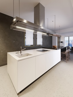 Isola cucina bianca sullo sfondo di un muro di cemento con dipinti. cucina moderna e mobili da cucina, rendering 3d.