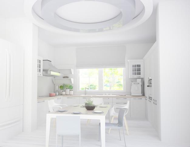 Cucina bianca con grande finestra e vista giardino
