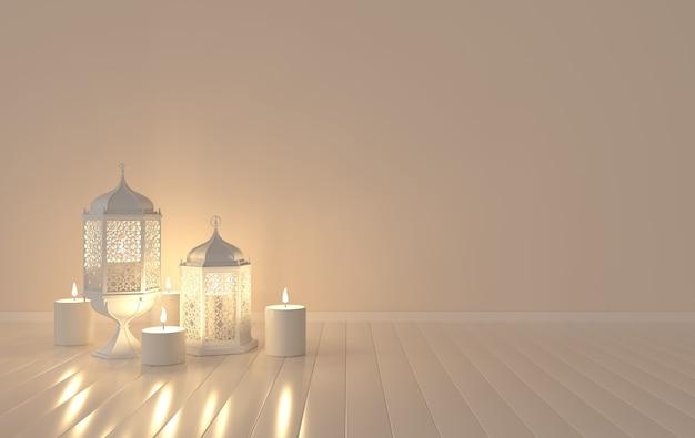 Lanterna bianca con candela, lampada con decoro arabo, disegno arabesco.