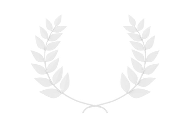 Premio del vincitore della corona di alloro bianco in stile argilla su sfondo bianco. rendering 3d