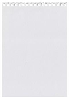 Foglia bianca strappata da un taccuino isolato