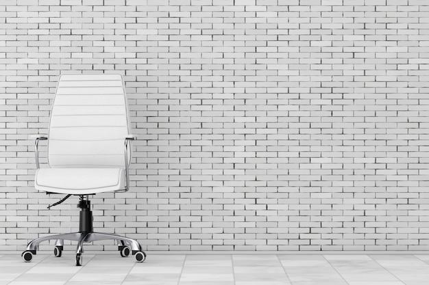 Sedia da ufficio boss in pelle bianca davanti al muro di mattoni. rendering 3d.