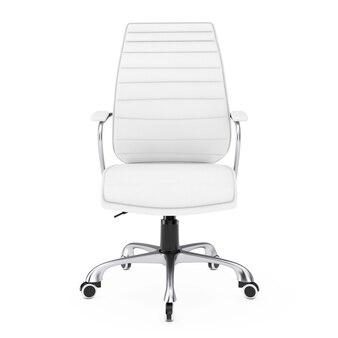 Sedia da ufficio boss in pelle bianca su sfondo bianco. rendering 3d.