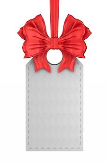 Etichetta in pelle bianca con fiocco rosso su sfondo bianco. illustrazione 3d isolata