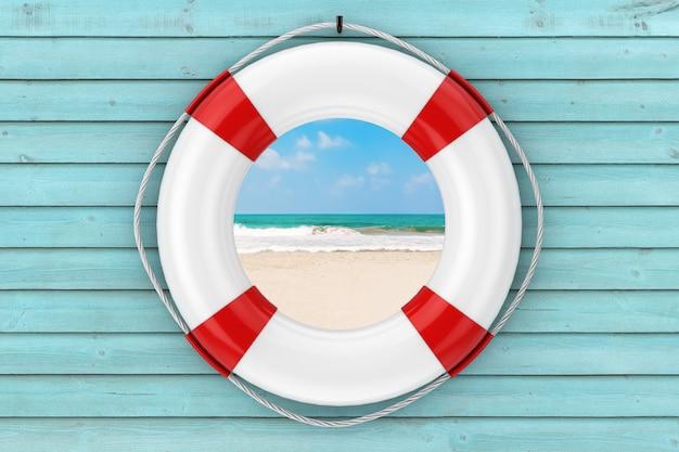Salvagente bianco su una parete di legno blu della plancia con il primo piano estremo di vista della spiaggia della costa del mare o dell'oceano. rendering 3d