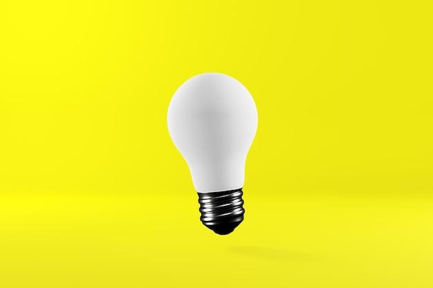 Lampadina bianca su sfondo giallo brillante.