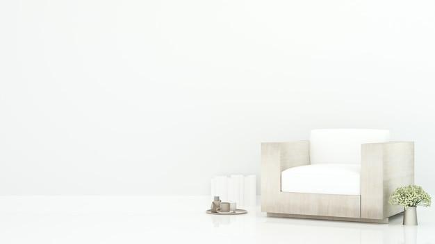 Soggiorno bianco in appartamento o hotel
