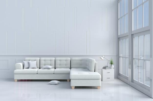 Decorazione bianca del salone con, cuscini, sofà bianco, finestra, lampada, parete bianca è modello ,.