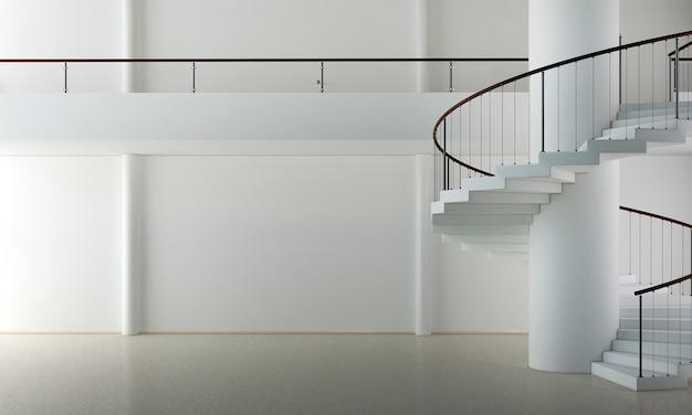Design bianco del soggiorno e doppio spazio e sfondo della trama della parete