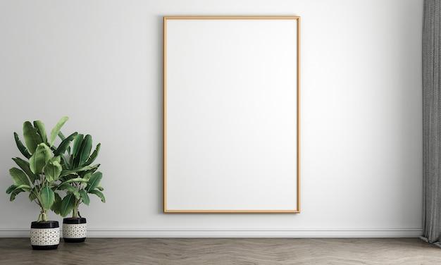 Interiore del salone bianco con cornice poster vuota, arredamento. 3d render illustrazione mock up