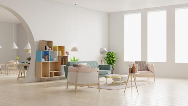 Soggiorno bianco e moderna sala da pranzo con mobili in legno.