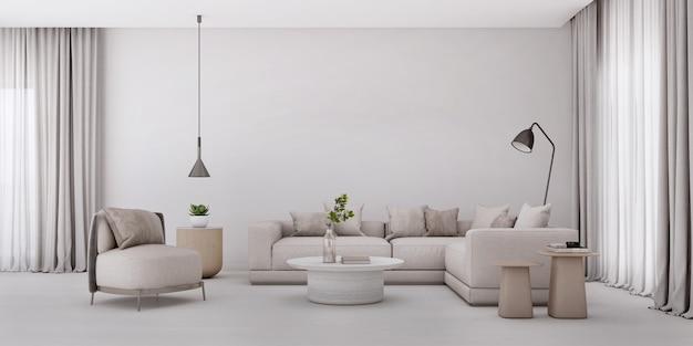 Soggiorno bianco in stile moderno, divano, poltrona e tavolo, concetto minimal