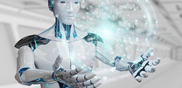 Umanoide maschio bianco facendo uso della rappresentazione globale digitale della rete 3d