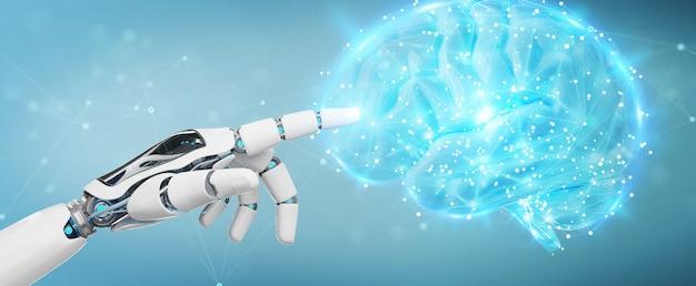 Umanoide uomo bianco che crea intelligenza artificiale