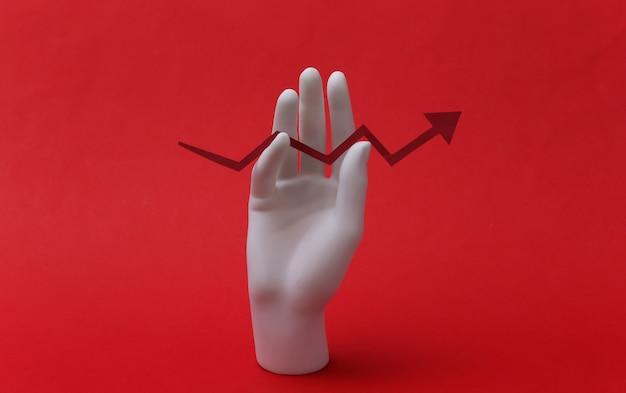 Una mano di manichino bianco tiene una freccia di crescita rivolta verso l'alto su sfondo rosso. affari, concetto di economia