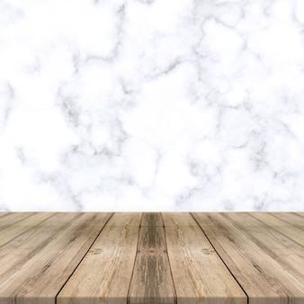 Sfondo di marmo bianco con sfondo di visualizzazione del prodotto del pavimento in legno