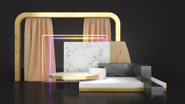 Piedistallo in marmo bianco su patta posteriore nera con cornice dorata al neon che simula il podio