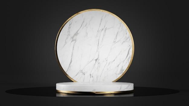 Piedistallo in marmo bianco per la presentazione del prodotto mockup rendering 3d