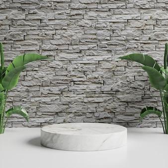 Podio in marmo bianco sul pavimento e muro di mattoni