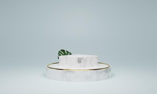 Podio in marmo bianco. scena per il nuovo prodotto, design minimale, rendering 3d