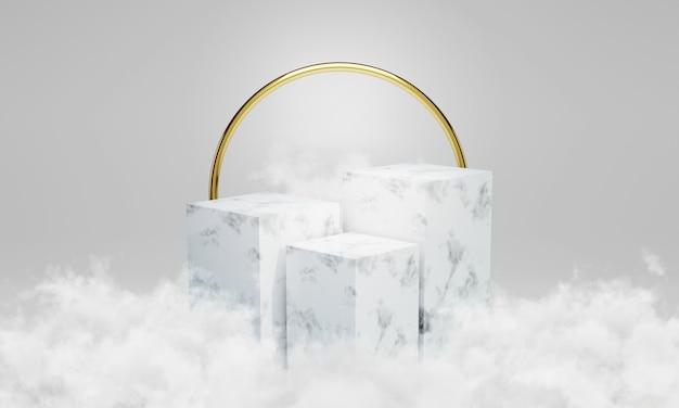 Podio in marmo bianco con nuvole intorno. scena per vetrina, design minimale, supporto del prodotto, rendering 3d