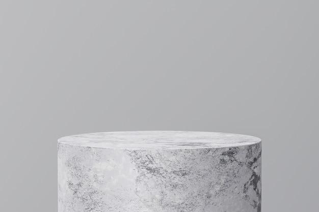 Esposizione bianca del prodotto di marmo su fondo grigio con lo studio moderno dei contesti. piedistallo vuoto o piattaforma podio. rendering 3d.