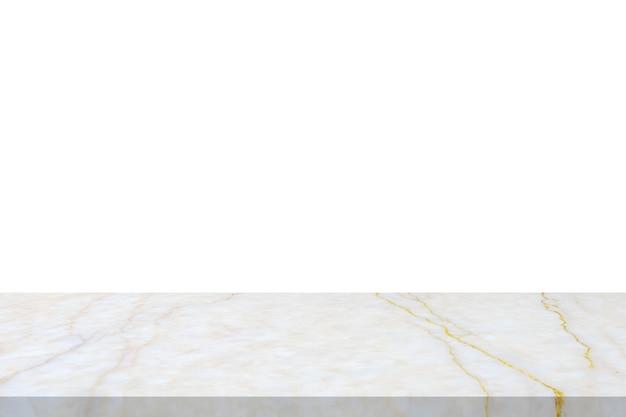 Piano del tavolo in pietra di marmo bianco isolato su sfondo bianco per l'esposizione del prodotto
