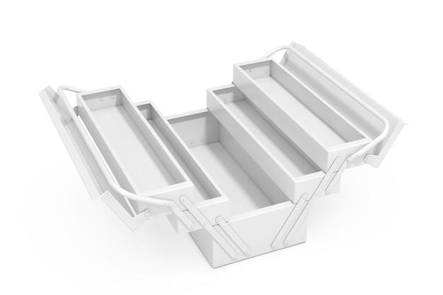 White metal classic toolbox in stile argilla su sfondo bianco. rendering 3d