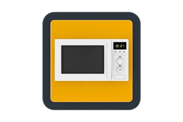Pulsante icona web touchpoint forno a microonde bianco su sfondo bianco. rendering 3d