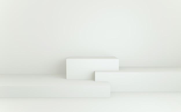 Podio geometrico astratto minimale bianco. rendering 3d