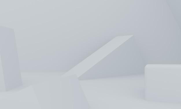 Sfondo astratto geometrico primitivo minimalista bianco, podio elegante illustrazione alla moda, stand, vetrina su colori pastello per prodotto premium. rendering 3d.