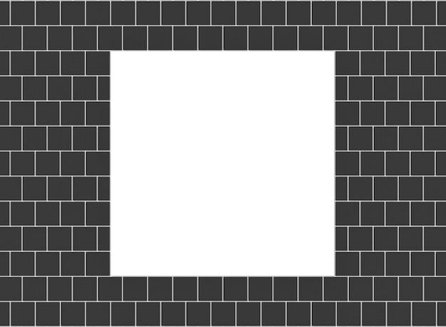 La derisione bianca sulla struttura dello spazio quadrata in bianco vuota sul mattone nero blocca il fondo della parete.