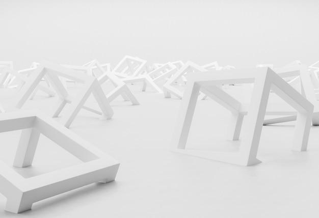 Sfondo bianco moderno con il primo piano di forme geometriche
