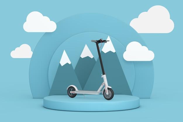 Bianco moderno eco elettrico monopattino su cilindri blu prodotti piedistallo stadio con nuvole e montagne su sfondo blu. rendering 3d