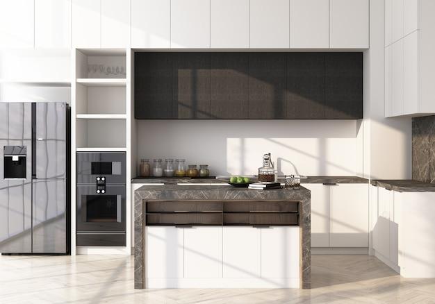 Cucina moderna bianca sul pavimento in legno e rendering 3d dispensa in marmo