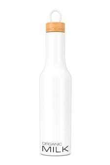 Mockup moderno bianco della bottiglia di latte di organik con il cappuccio di legno su un fondo bianco. rendering 3d