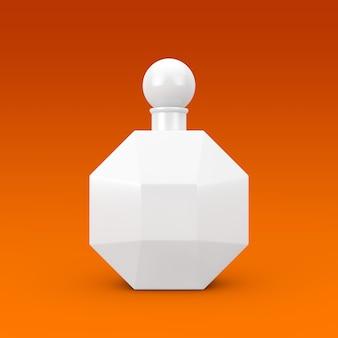 Bottiglia di profumo moderno bianco a forma di diamante su uno sfondo arancione. rendering 3d