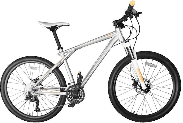 Una mountain bike bianca isolata su sfondo bianco