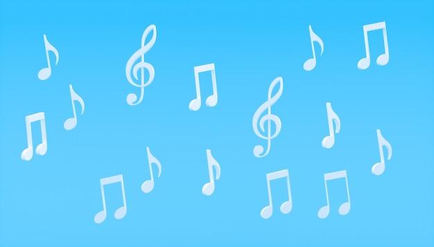 Note musicali bianche su sfondo blu, illustrazione 3d