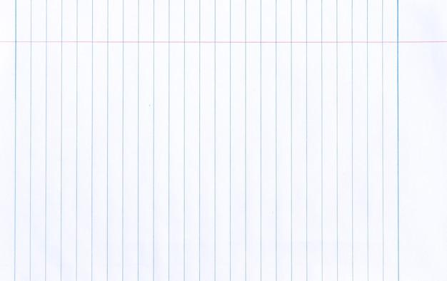 Linea di quaderno bianco sfondo di carta