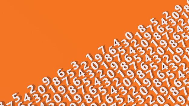 Modello di numeri bianchi. sfondo arancione. illustrazione astratta, rendering 3d.