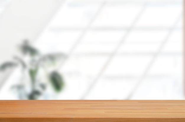Sfondo bianco dello spazio dell'ufficio con display del prodotto in legno
