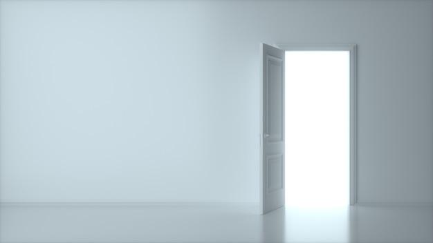 Porta aperta bianca con telaio isolato sulla parete