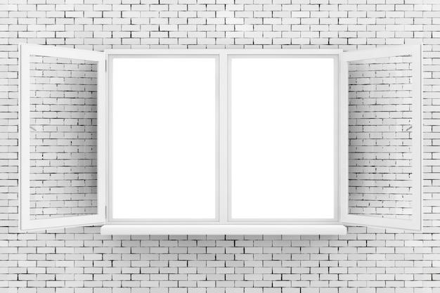 Finestra aperta bianca sul primo piano estremo del muro di mattoni. rendering 3d.