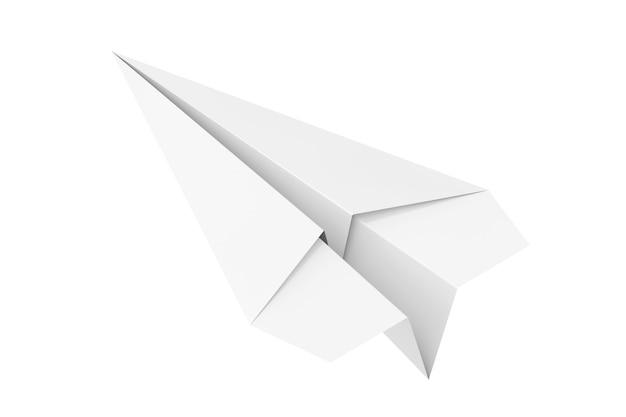 Aeroplano di carta origami bianco su sfondo bianco. rendering 3d