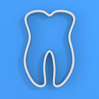 Contorno bianco del dente su sfondo blu. rendering 3d