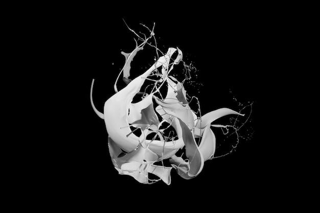 Spruzzi di vernice bianca isolati su sfondo nero