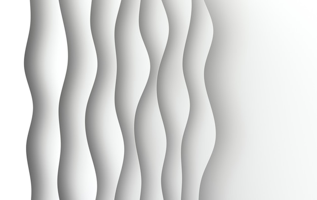 Pieghe delle onde astratte del fumetto di arte del libro bianco la carta scolpisce il fondo